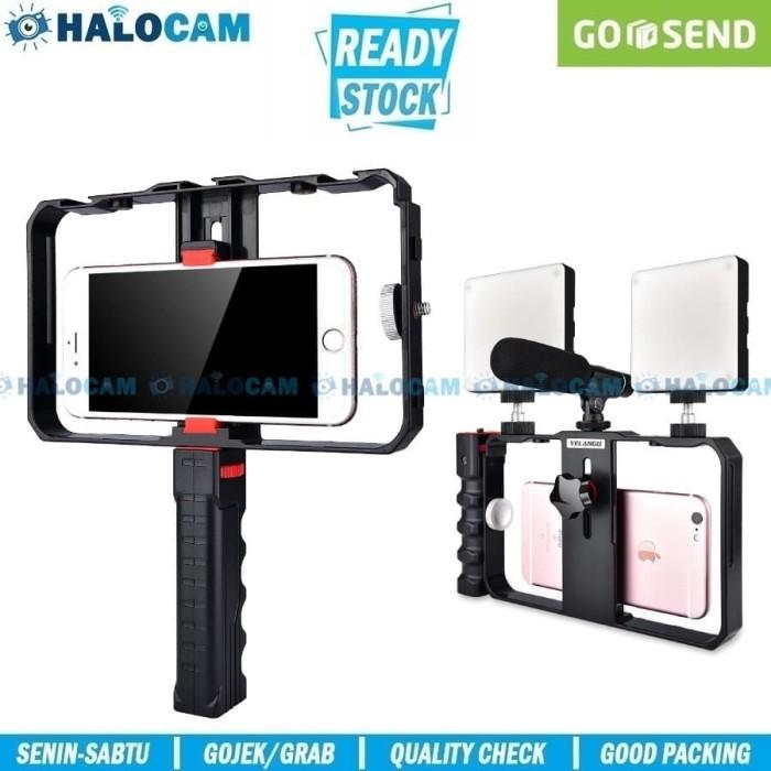 Foto Produk Smartphone Rig Handheld Stabilizer Holder with Bracket Led Mic Video dari HALOCAM