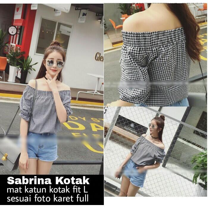 Foto Produk SS Sabrina Kotak Baju wanita Atasan Blouse dari abimast