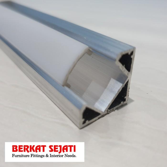 Foto Produk List Lis Rel Rumah Cover Casing Lampu LED Strip Alumunium SUDUT SIKU 3 - Putih dari Berkat Sejati Toko