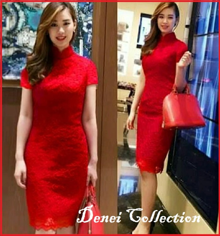 Foto Produk CHEONGSAM DRESS IMLEK MERAH ALYA SINCIA dari rindy_shopp