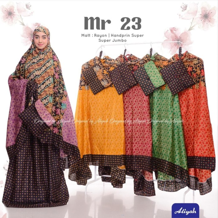 Foto Produk Mukena Dewasa Batik MR 23 Model Terbaru Ecer Grosir Katun by Aliyah dari AZKG Store