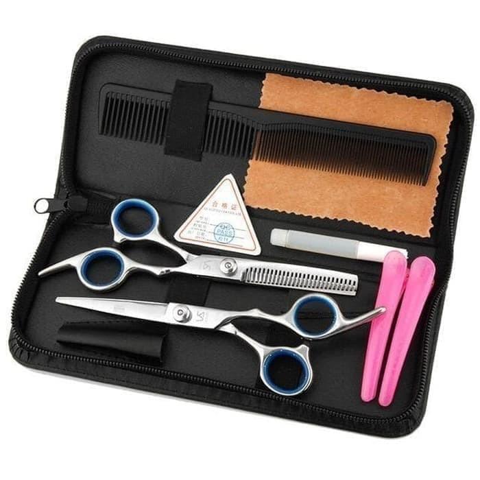 Foto Produk set alat gunting cukur rambut salon baber shop flat sasak stainless dari HoHo168