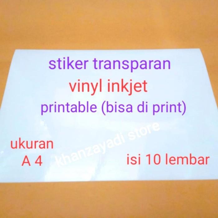 Foto Produk kertas stiker transparan sticker transparant (glossy) A4 bisa di print dari khanzayadi store