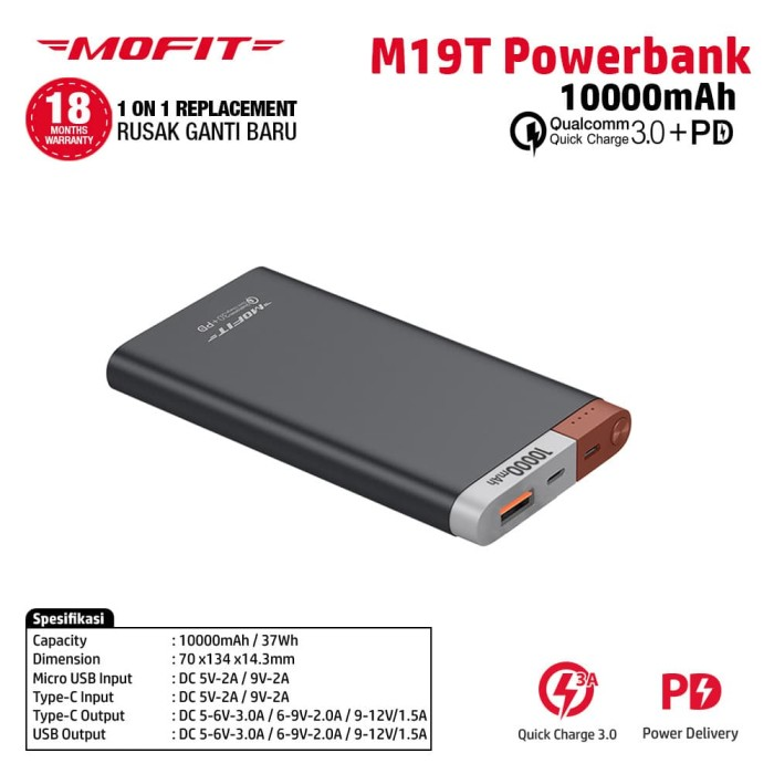 harga Power bank mofit m19t 10000mah quick charge qc 3.0 + pd power delivery - hitam Tokopedia.com
