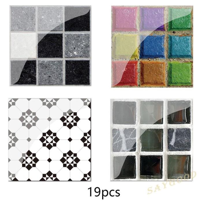 Jual Lucu Sg 19pcs Pvc Waterproof Mosaic Tile Wall Sticker Kitchen Tiles Kab Bogor Boss Jaket Tokopedia