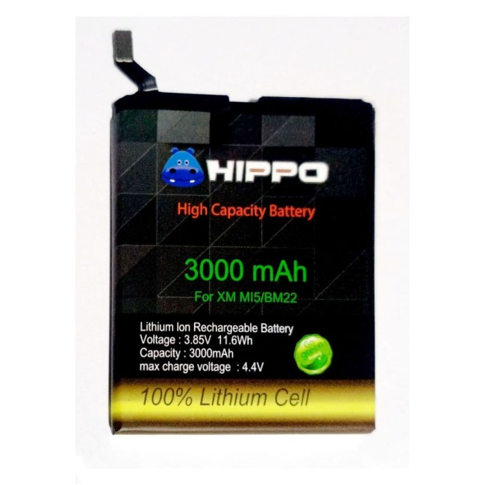 Foto Produk Baterai Hippo Xiaomi Mi5 Mi5 Pro Mi5 Prime BM22 3000 mAh Garansi Resmi dari Miooz Official Store