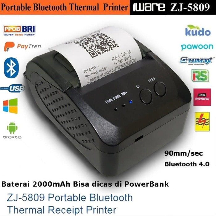 Foto Produk PRINTER KASIR/PPOB THERMAL 58MM IWARE ZJ-5809 ANDROID (USB+BLUETOOTH) dari klikbarcode