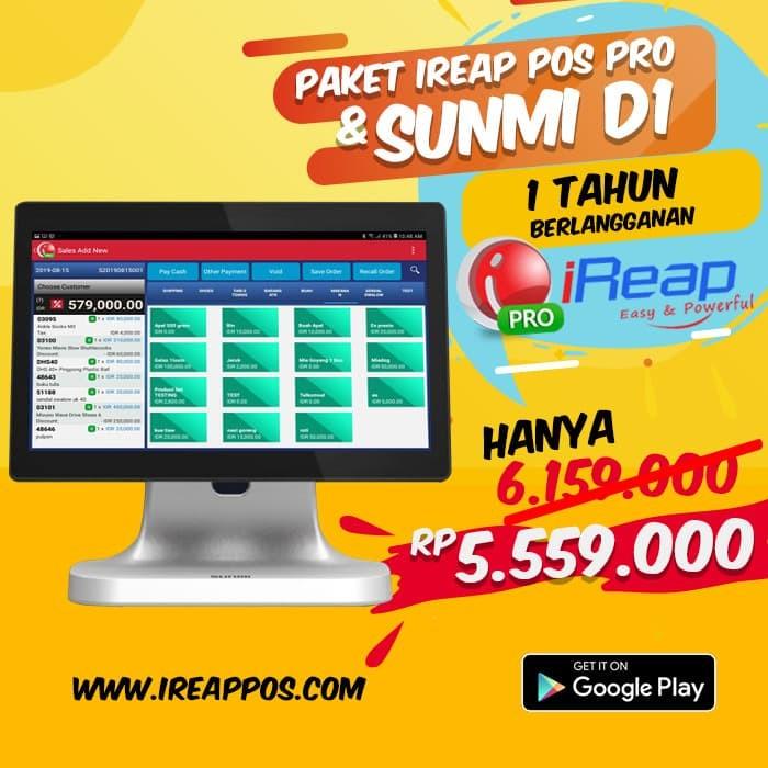 Foto Produk Paket iREAP POS PRO 1 Tahun Dengan Android Desktop POS Sunmi D1 dari Toko IREAP POS