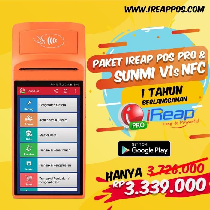 Foto Produk Paket Mobile iREAP POS PRO 1Thn Dengan Smart POS Printer Sunmi V1s NFC dari Toko IREAP POS