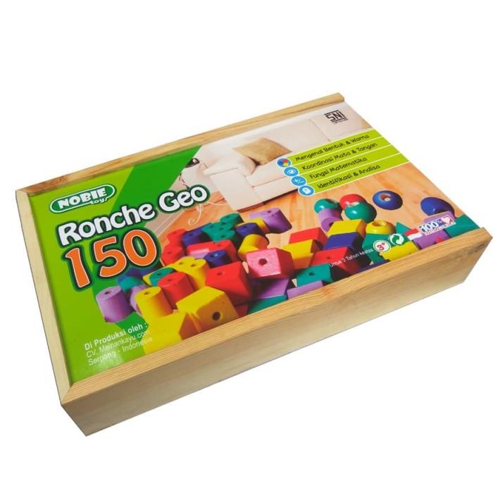 Foto Produk Ronche geo 150 biji mainan anak montessori edukasi edukatif kayu balok dari Edukasi Toys