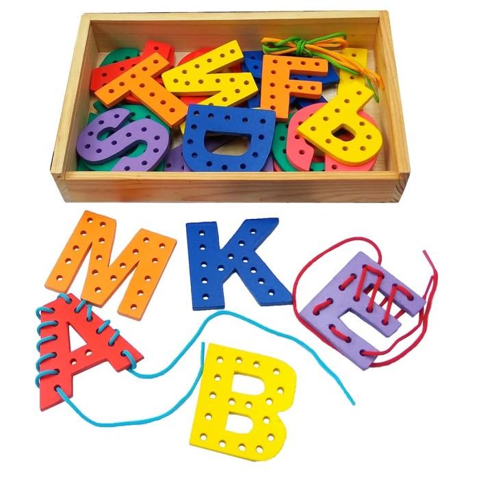 Foto Produk Papan jahit abjad mainan anak edukasi edukatif balok kayu SNI dari Edukasi Toys