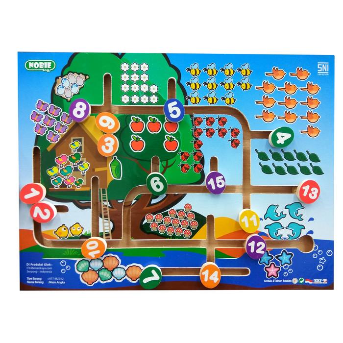 Foto Produk Maze Angka 1-15, mainan edukatif edukasi anak kayu balok motorik SNI dari Edukasi Toys