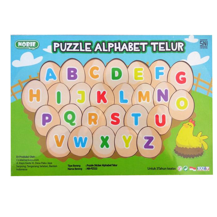 Foto Produk Puzzle alphabet abjad abc telur mainan edukasi balok kayu edukatif TK dari Edukasi Toys