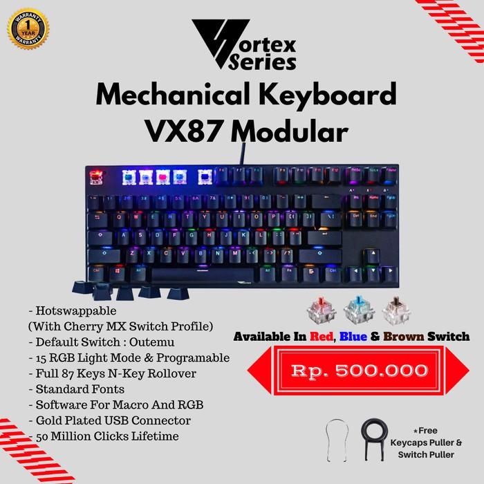 Foto Produk VortexSeries VX87 Modular Hotswappable Keyboard Gaming - Hitam dari VortexSeries