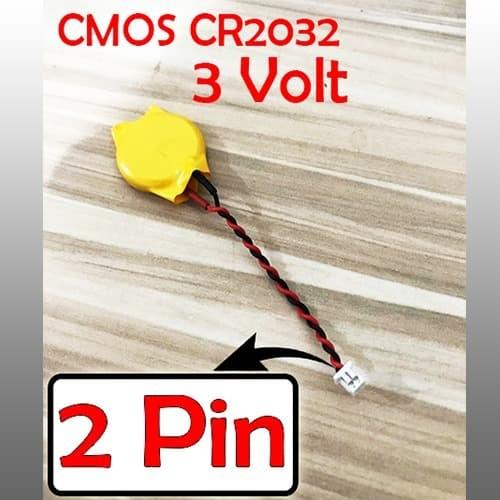 Foto Produk Baterai cmos bios laptop notebook cr2032 soket kabel 3volt 2 Pin 3V dari Wepart