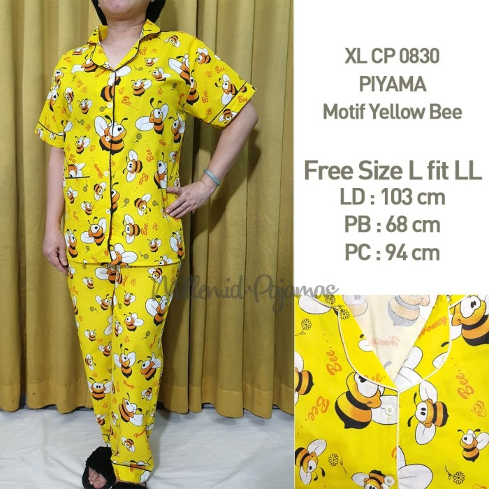 Foto Produk Piyama Set Free Size L-LL Wanita Katun Japan Motif Yelow Bee XLCP 0830 dari Millen Collection