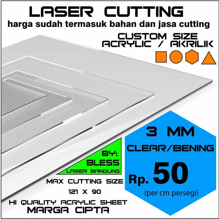 Foto Produk Promo Acrylic Sheet 3mm / Akrilik Lembaran custom persegi laser cut dari BAD-S =BAndungDrone-Shop