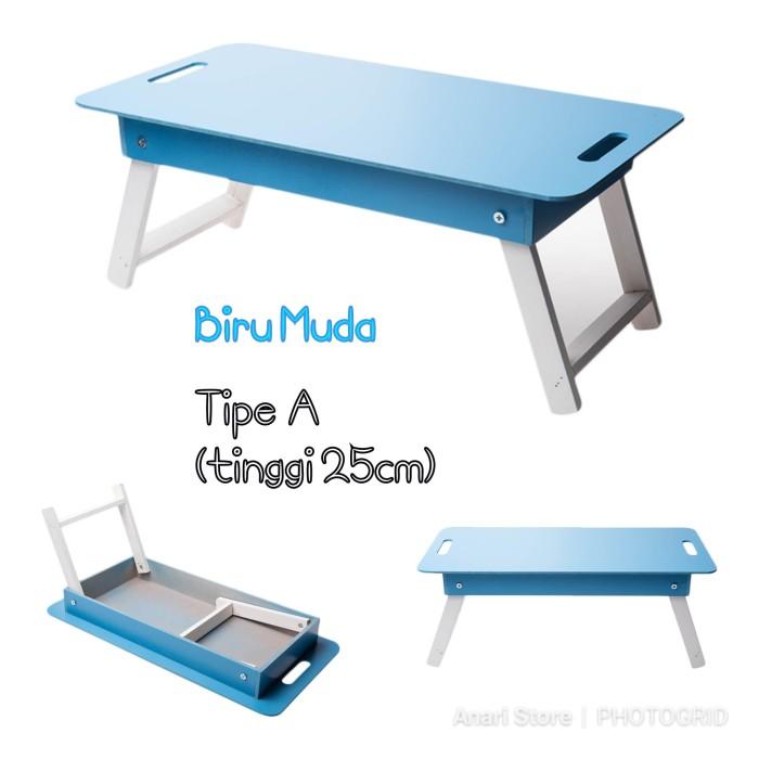 Foto Produk PROMO Meja Belajar Lipat Laptop Portable Anak Ngaji Makan Lesehan Kayu - Biru Muda dari Anari Store