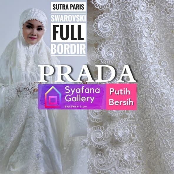 Foto Produk Mukena Dewasa Sutra Paris Full Bordir Putih Bersih Swarovski Adem - Putih Bersih dari Syafana Gallery
