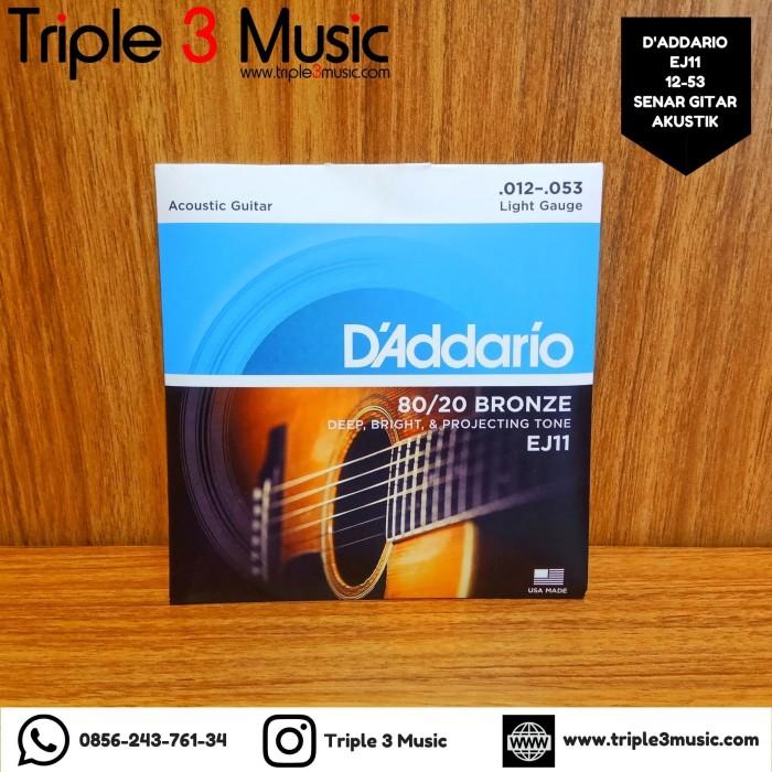 Foto Produk D'Addario EJ11 12-53 bronze senar gitar akustik ORIGINAL REAL PLAY dari triple3music