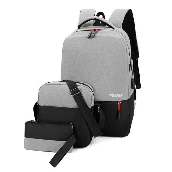 Foto Produk Freeknight Tas Ransel Pria 3in1 Casual Backpack Sekolah TR805 - Hitam dari Freeknight