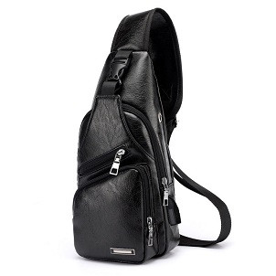 Foto Produk FREEKNIGHT Tas Selempang Kulit Pria Fashion SLing Bag USB Port TS601 - Hitam dari Freeknight