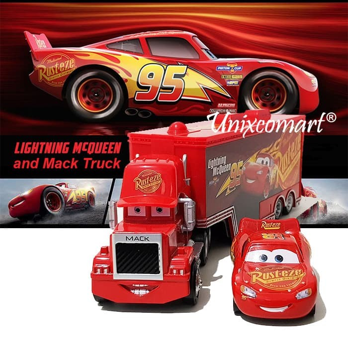 jual mainan anak cars lightning mcqueen and mack truck