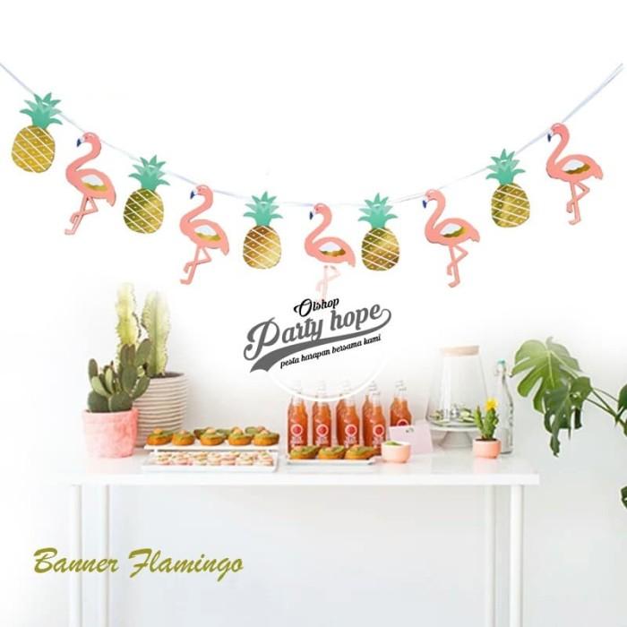Foto Produk Banner flamingo / Bunting Flag flamingo / hiasan ultah flamingo dari PARTY HOPE 2