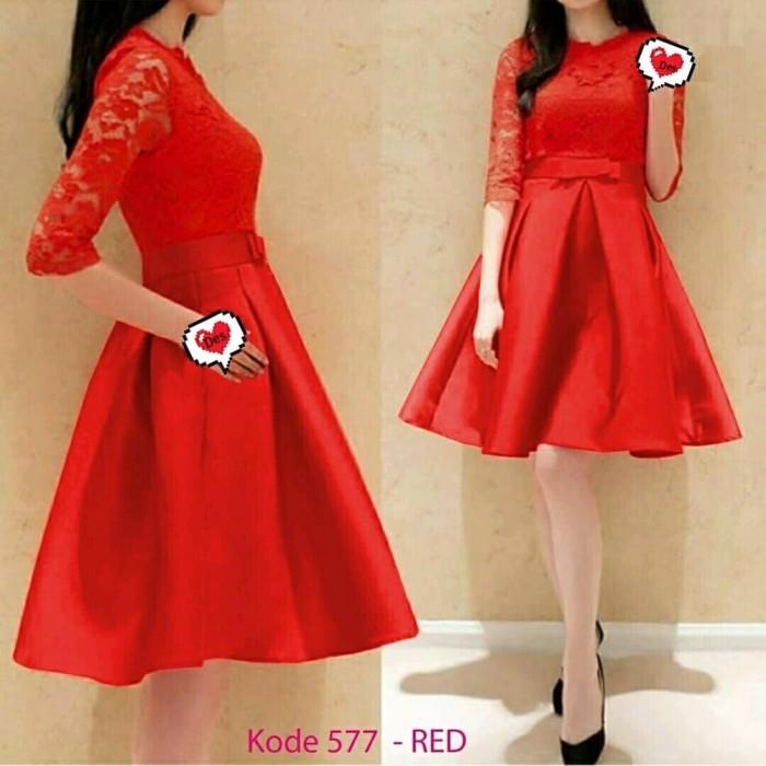 Foto Produk BAJU WANITA RED DRESS IMLEK XINCIA CHEONGSAM DRES MERAH BRUKLAT DNCD dari De'Nei Collection