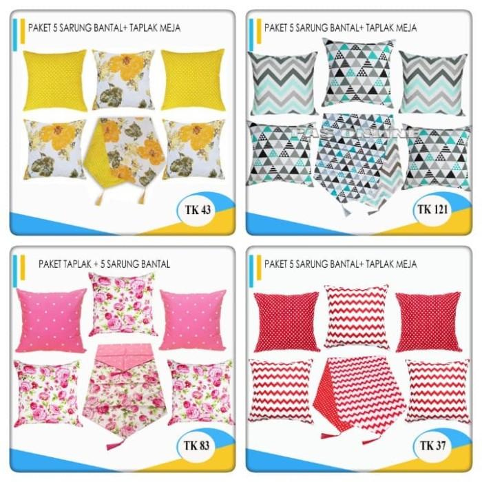 Foto Produk Paket Sarung Bantal 5 Pcs + 1 Taplak Meja / Table Runner dari pondok aren shop