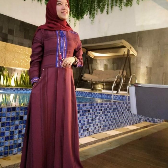Jual Busana Muslim Abaya Hikmat Fashion Kode X 3818 Maroon Jakarta Pusat Berkah Mu Tokopedia