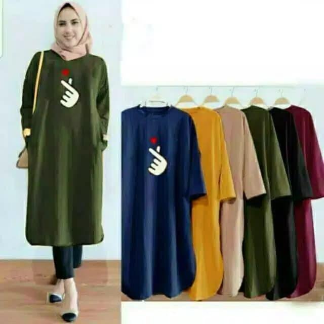 Jual Baju Tunik Atasan Wanita Muslimah Kekinian Ukuran Jumbo Saranghae Jakarta Pusat Hafiza Collections Tokopedia
