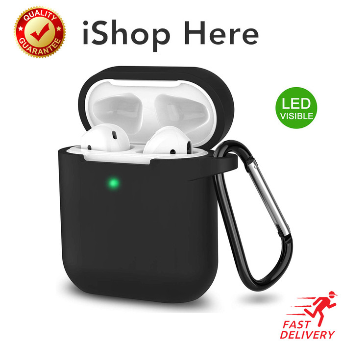 Foto Produk Casing Apple AirPods 1 2 Silicon Case with Hook LED Visible Airpod - Hitam dari iShop Here
