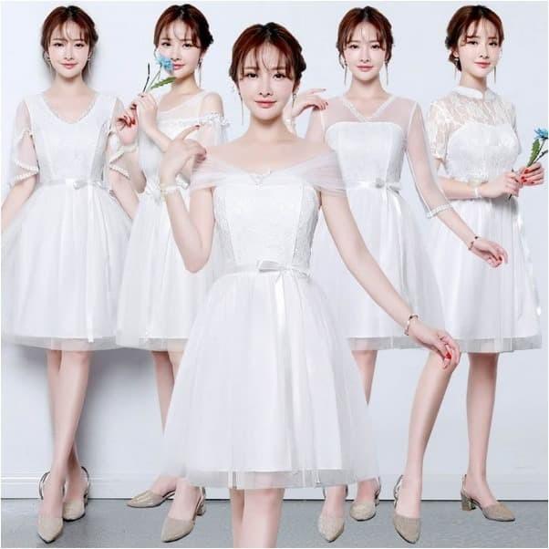Jual Midi Bridesmaid Dress Evening Dress Party Dress Wedding Gown White Kota Surabaya Natura Bouctique Tokopedia