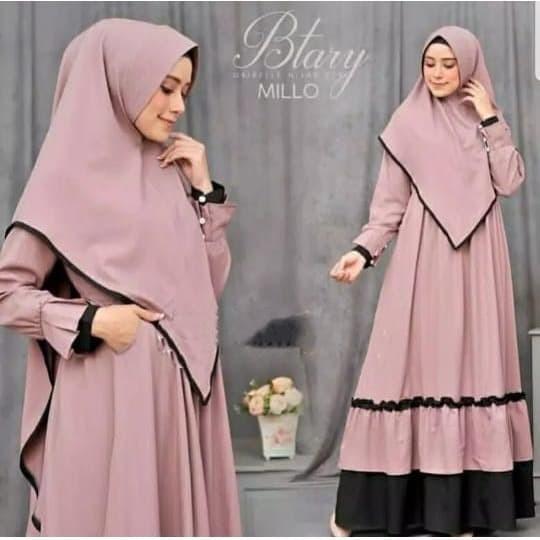 Foto Produk BTARY GAMIS SET SYARII DRESS MUSLIM + KHIMAR BEST SELLER - Milo dari B.O.M baju Online murah1