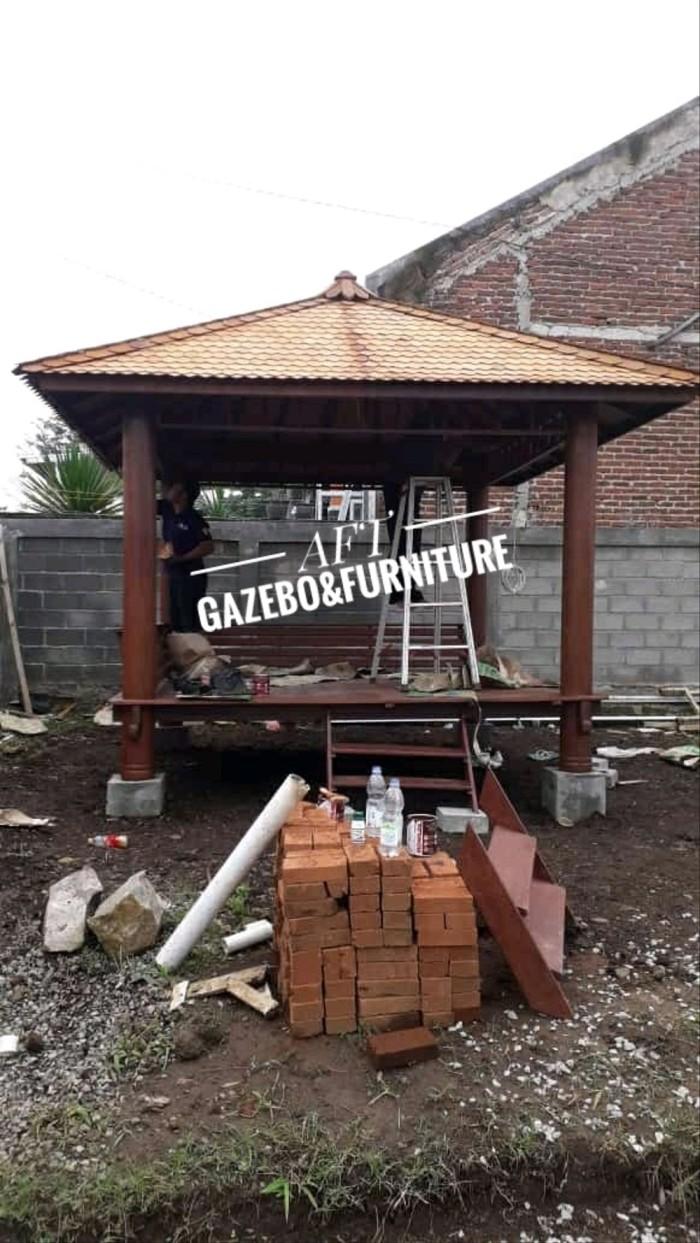 Jual Gazebo 3x3m Atap Sirap Pilar Bulat Minimalis 19cm Jepara Jakarta Timur Estore Nanda