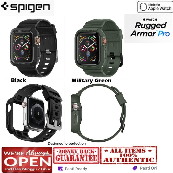 Foto Produk Spigen Apple Watch 4 (44mm) Case Rugged Armor Pro (Case and Band) - Black dari Spigen Indonesia