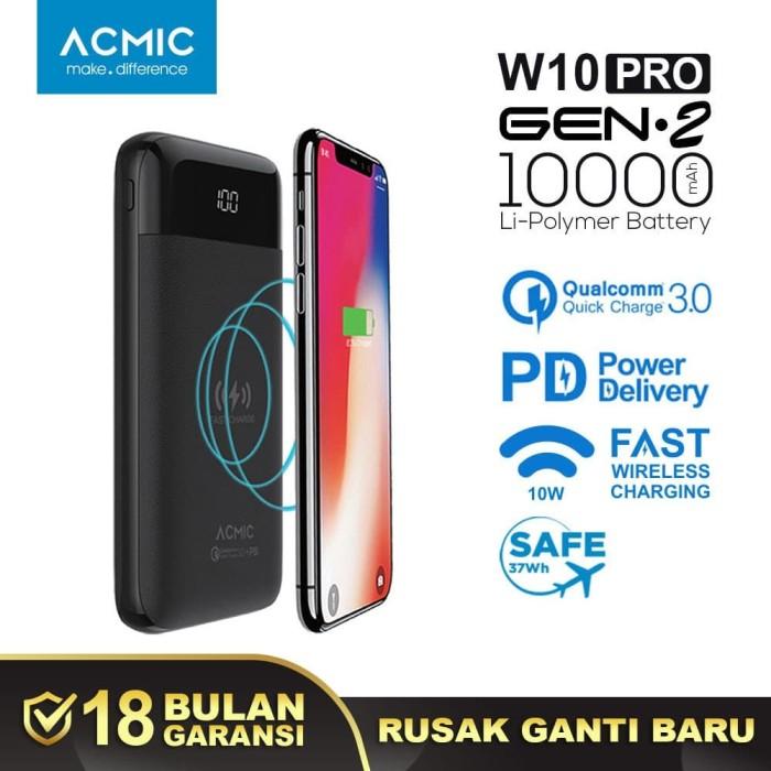 Foto Produk ACMIC W10PRO Gen2 10000mAh Fast Wireless Charge Power Bank QC 3.0 + PD - Micro USB 100cm dari ACMIC Official Store