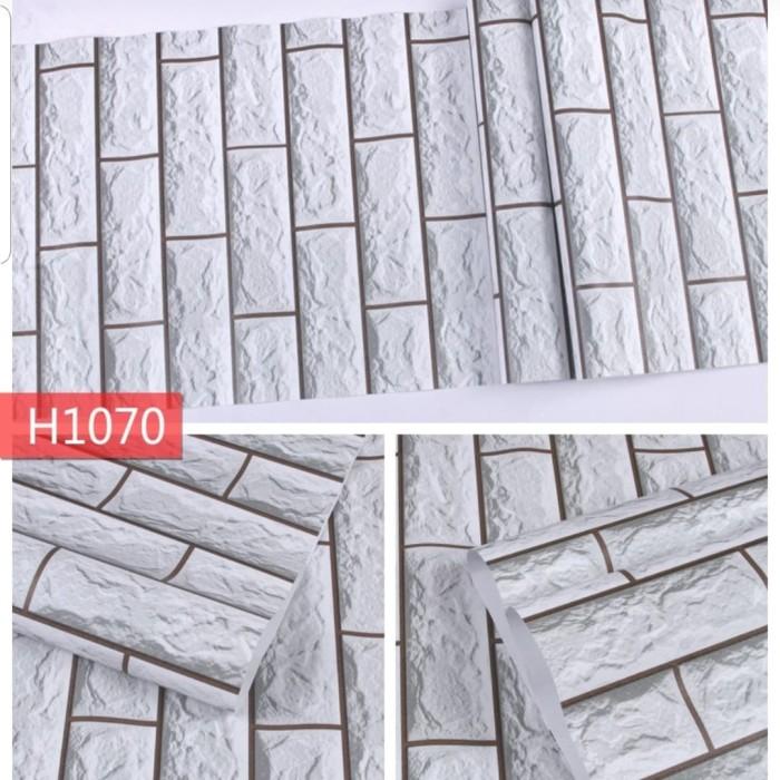 Jual Wallpaper Sticker Dinding Motif Bata 3D Putih