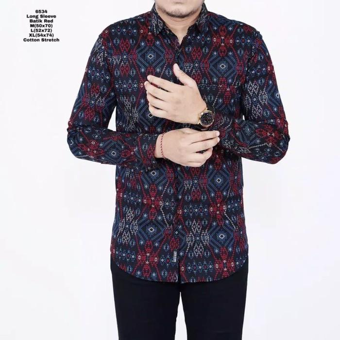 Foto Produk Kemeja Batik Slim Fit Lengan Panjang Cotton Stretch Batik Pria Merah - Merah dari inisial.R