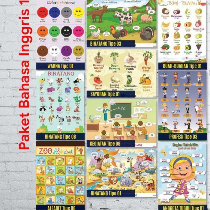 Jual Promo Tipe 1 Paket Isi 10 Poster Pendidikan Belajar Bahasa Inggris Kota Tangerang Panunggangangarage Tokopedia