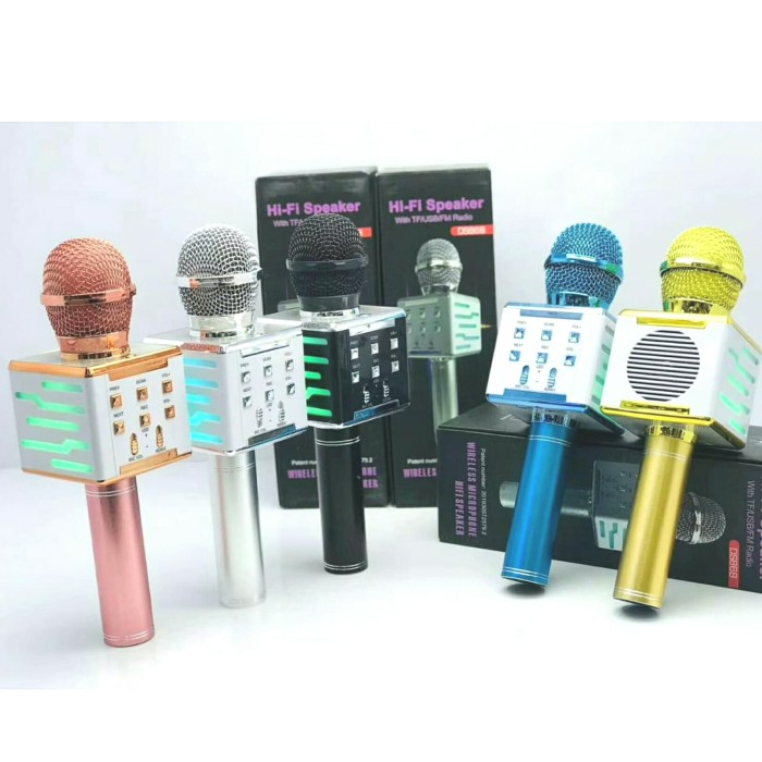 Foto Produk Mic karaoke KTV LED Smule Mikrofon Bluetooth Portable Wireless DS868 - Hitam dari Jess grosir accessories