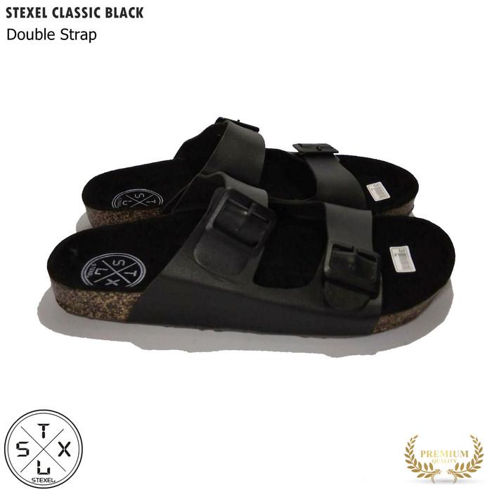 Foto Produk Sandal Pria & Wanita Casual Double Strap / Tali 2 Classic Black Stexel - 39, Hitam dari STEXEL OFFICIAL