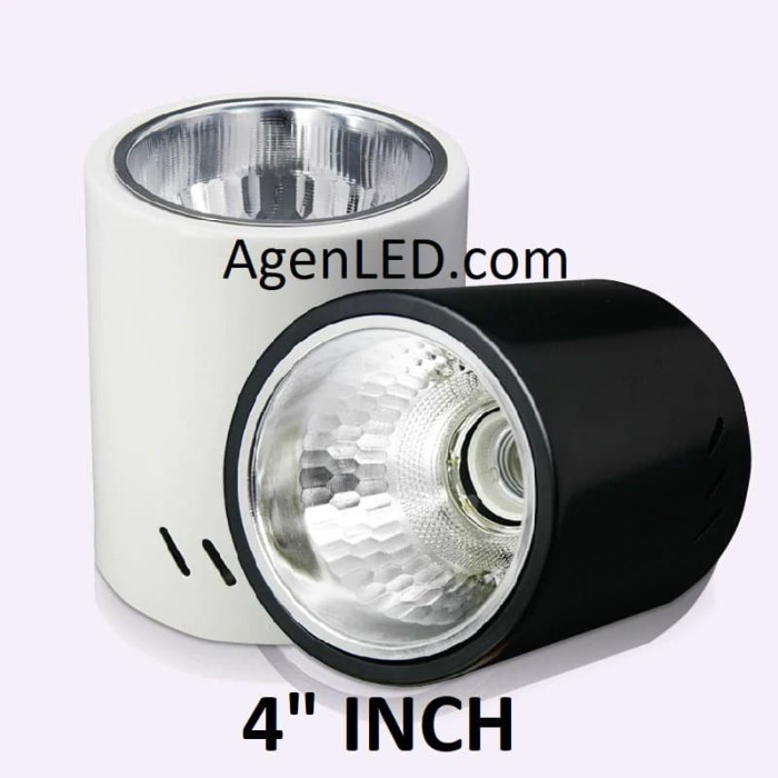 """Foto Produk Kap Lampu Downlight Outbow 4 INCH FITTING e27 HITAM PUTIH OB BULAT 4"""" - Putih dari AgenLED"""