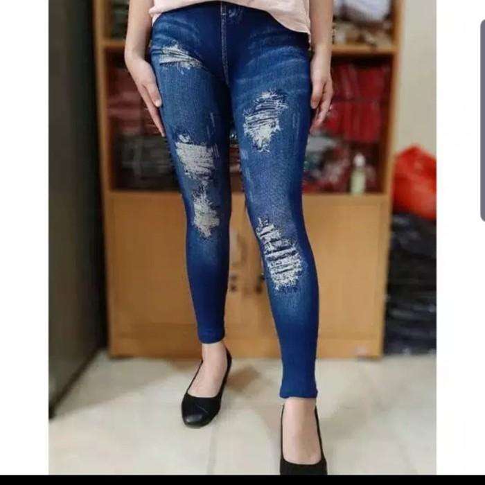 Jual Celana Legging Jeans Motif Sobek Kota Bekasi Toko Fitri75 Tokopedia
