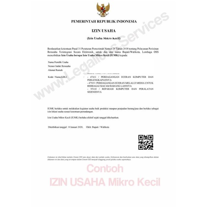 Jual Izin Usaha Mikro Kecil Iumk Jakarta Timur Jasalegalitas Tokopedia
