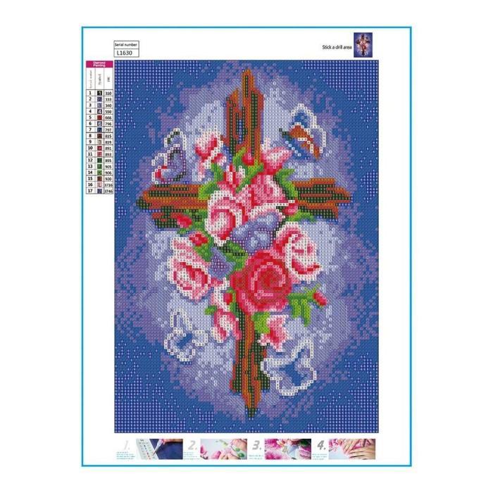 Jual Diy Lukisan Diamond 5d Dengan Gambar Mozaik Bunga Mawar Untuk