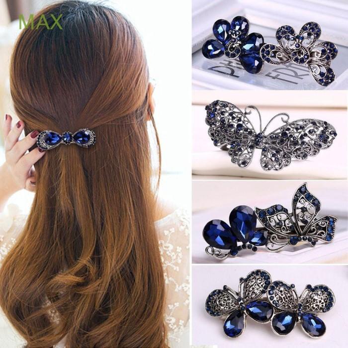 Fashion Rhinestone Crystal Women Flowers Hairpin Hair Clip Bow Knot Barrette