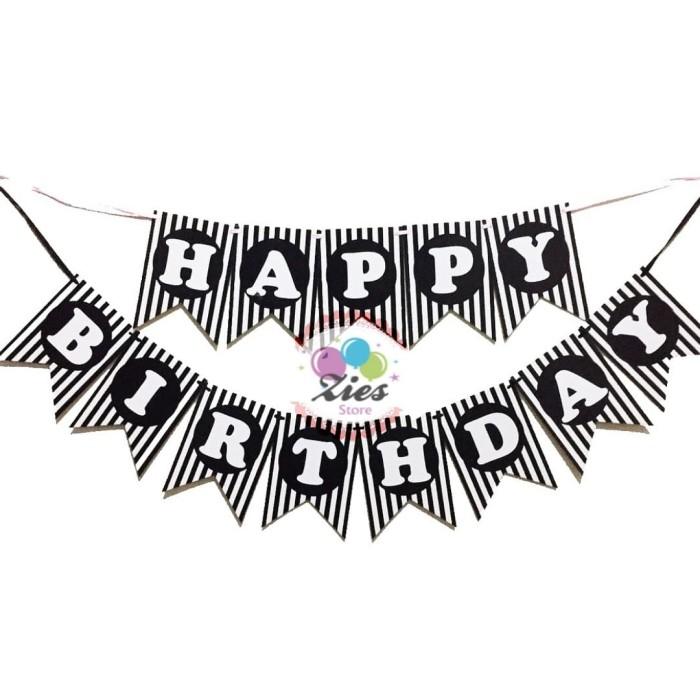 Foto Produk Banner happy birthday / bunting flag ulang tahun motif hitam salur dari Zies store
