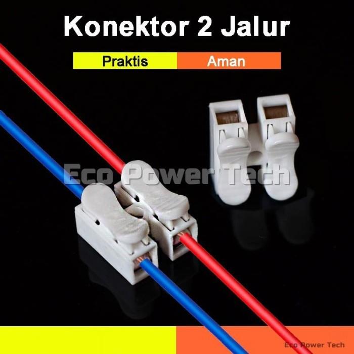Foto Produk CH2 Quick Cable Wire Connector 2 Pin 2pin Push   Konektor Kabel dari Eco Power Tech